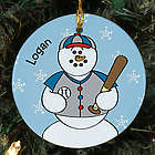 Personalized Ceramic Baseball Snowman Ornament
