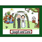 Personalized Wedding Waterfall Cartoon Print