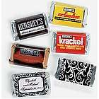 Personalized Classic Black and White Mini Candy Bar Stickers