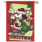 Mickey Mouse and Pluto Christmas Flag