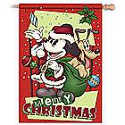 Mickey Mouse and Pluto Christmas Flag