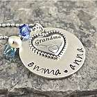 Grandma's Heart Personalized Hand Stamped Necklace