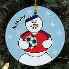 Personalized Ceramic Soccer Snowman Ornament