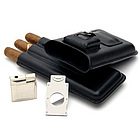 Leather Travel Cigar Case Gift Set