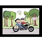 Personalized Motorcycle Couple Cartoon Print