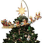 Revolving Santa's Sleigh and Star Christmas Tree Topper