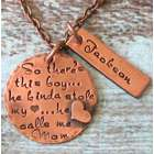 Mother and Son Hand-Stamped Personalized Antique Copper Necklace