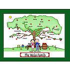 Personalized Grandparents Family Heart Tree Cartoon Print