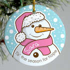 Pink Ribbon Personalized Snowman Ornament
