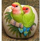 Lovebirds Parrot Votive Candle Holder