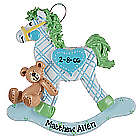 Personalized Blue Plaid Rocking Horse Ornament