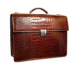 Luxury Italian Croco Double Gusset Briefcase