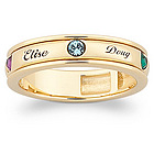 Mothers Name & Inlaid Birthstone Band