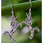 """Dance of the Unicorns"" Sterling Silver Dangle Earrings"