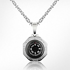 Stainless Steel Octagon Compass Pendant Necklace