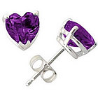 Heart Shape Amethyst Earrings in White Gold