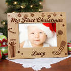 My First Christmas Script Font Personalized Picture Frame