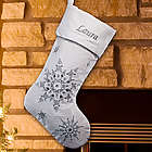 Embroidered Silver Snowflakes Velvet Christmas Stocking