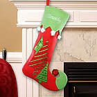Embroidered Velvet Christmas Tree Stocking