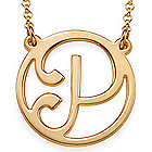 18k Gold Plated Cutout Initial Necklace
