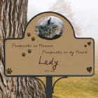 Pawprints In Heaven Memorial Stake with Photo Magnet