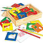 Children's Arts and Crafts Wooden Stencils Kit