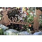 Boy and Girl Metal Art Garden Welcome Sign