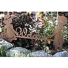 Boy and Girl Metal Art Garden Welcome Sign