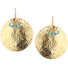 Aquamarine Earrings in Sterling Silver with Yellow Rhodium