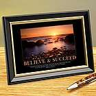 Believe & Succeed Sunset Framed Desktop Print