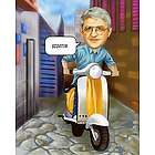 Scooter Rider Personalized Caricature Art Print