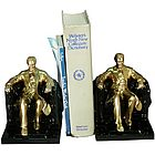 Lincoln In Chair Bookends Brass