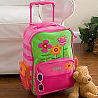 Girl's Pretty Flowers Embroidered Rolling Luggage