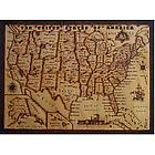 United States Handmade Leather Map in Natural