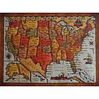 United States Color Leather Map