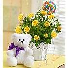 Happy Birthday Yellow Rose and Teddy Bear Gift Set