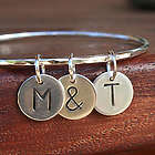 Trio Letter Charm Sterling Silver Bangle Bracelet