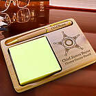 Personalized Sheriff Wooden Notepad & Pen Holder