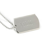Personalized Large Nickel Plated Dog Tag Necklace