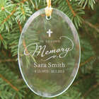 Engraved Cross In Loving Memory Glass Ornament
