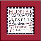 Personalized Classic Dot Canvas Birth Announcement