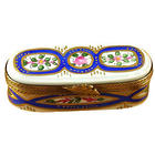 Long Oval Floral Limoges Box in Blue