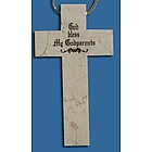 God Bless My Godparents Jerusalem Stone Polished Cross