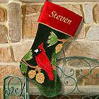 Embroidered Cardinal Christmas Stocking