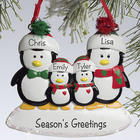 Penguin Four Family Members Personalized Ornament