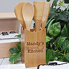 Engraved Kitchen Bamboo Cooking Utensil Set