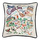 Hand Embroidered North Carolina State Pillow