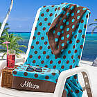 Blue and Brown Oversized Personalized Beach Towel