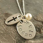 Personalized Petite Cross Godmother Hand Stamped Necklace