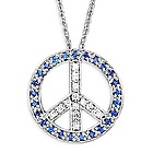 14k White Gold Necklace Diamond & Sapphire Peace Sign Pendant